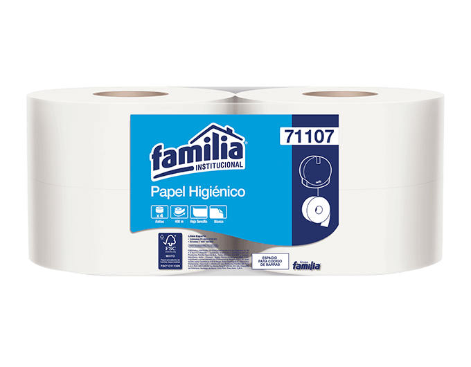 Papel higiénico jumbo blanco - Familia Institucional